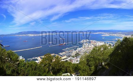 View of the city and harbor of Gibraltar.