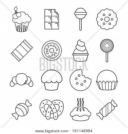 Sweets candy cakes icons set. Outline illustration of 16 sweets candy cakes vector icons for web