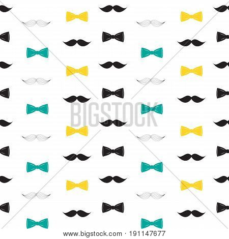 Bow Tie and Mustache Seamless Pattern, Father s Day Background Vector Illustration EPS10