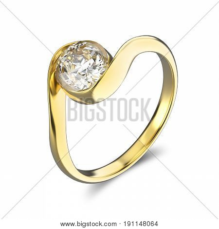 3D illustration yellow gold ring bypass with diamond on a white background