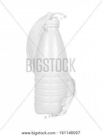 Milk slashes with white plastic bottle, isolated on white background