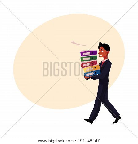 Black, African American businessman overloaded with document folders, stressed out, cartoon vector illustration with space for text. Black businessman with document folders, feeling stressed