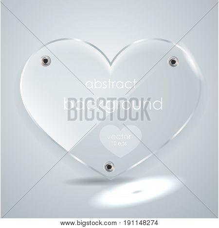 Glass Heart. Vector Illustration.