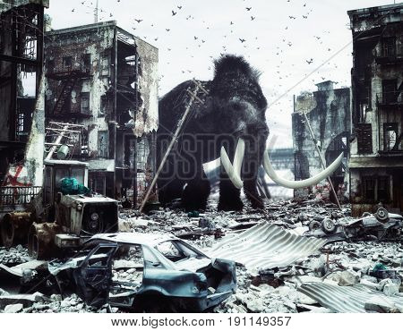 giant mammoth in destroyed city. creative concept. 3d concept. Noise added