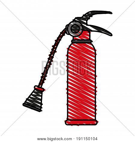Fire extinguisher flames icon vector illustration design graphic scribble