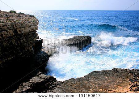 wild sea in Kamenjak, Premantura in Croatia