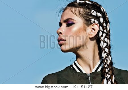 Girl With Adorable Face, Makeup And Stylish Braids