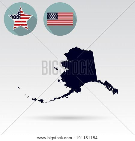 Map of the U.S. state of Alaska on a white background. American flag
