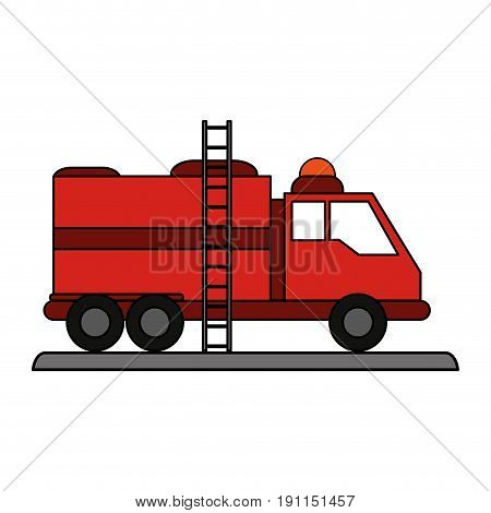 Fire truck puts out fire illustration vector design icon flat