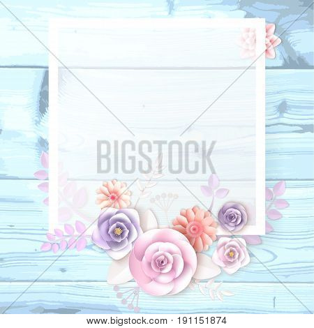 A Square Frame, A Place For Text With Paper Flowers, A Petal On A Wooden Background.