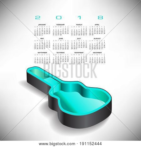 2018 Guitar case music calendar in aqua and gray