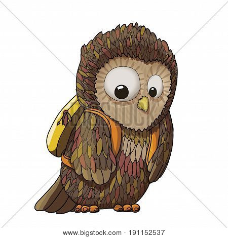Young surprised owl character wearing backpack (rucksack) cartoon illustration, EPS10