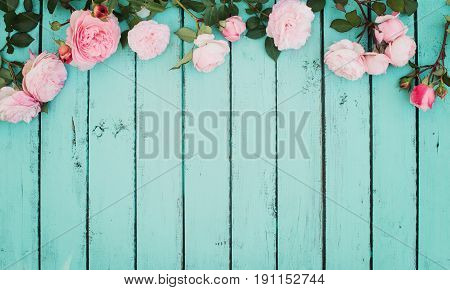 Shabby Chic Vintage Floral Background with Roses.