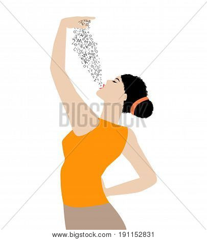 Symbolic illustration of woman inhaling letters of the alphabet