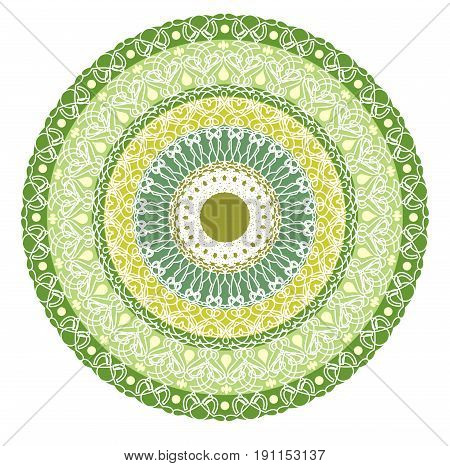Green mandala for energy and power obtaining. Rich patterned mandala for meditation training. Filigree lace patterns on green circle background.
