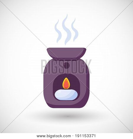 Oil burner vector flat icon Flat design of spa aromatherapy or relaxation object with round shadow vector illustration