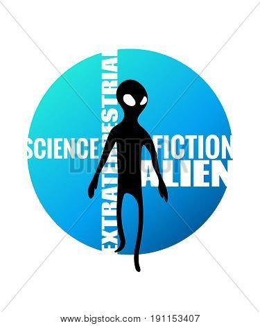 Alien Humanoid And Against Wording On Blue