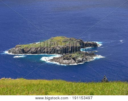 Landscape of Easter Island in sunny day