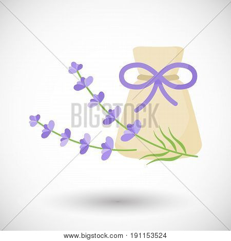 Aromatherapy sachet with lavender vector flat icon Flat design of alternative medicine spa and massage object with round shadow vector illustration