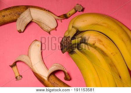 Pop art still life with bananas top view horizontal