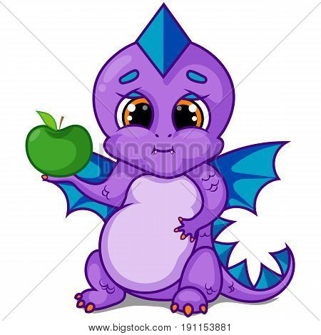 Purple Dragon Character with Green Apple Tree on White Background, Blue Wings, Cartoon Hand Drawn Vector Illustration EPS 10