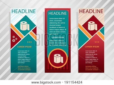 Toilet Paper Icon On Vertical Banner. Modern Abstract Flyer, Banner, Brochure Design Template.