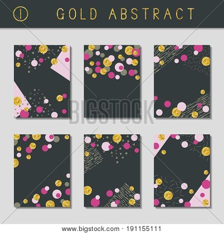 Set of 6 abstract brochure designs with gold metallic elements. US Letter size. Easily croppable to A4 size. Graphics are grouped and in several layers for easy editing. The file can be scaled to any size.
