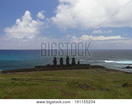 Moai at Ahu Tongariki (Easter island Chile)
