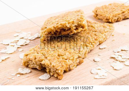 Oatmeal cereal bar on a cutting board