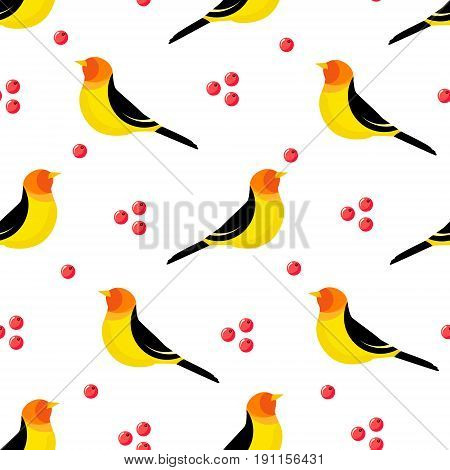 Seamless pattern with abstract bird and berries on white background. Vector illustration.
