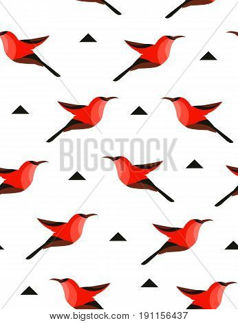Seamless pattern with abstract bird and triangles on white background. Vector illustration.