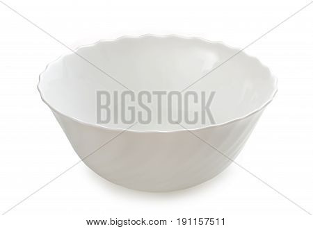 Empty White Ceramic Bowl Isolated On A White Background