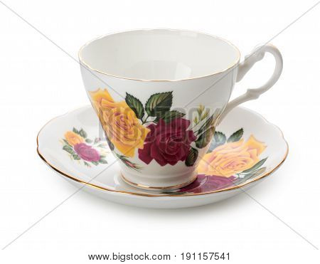 Ancient English Porcelain Tea Cup And Saucer Isolated On White