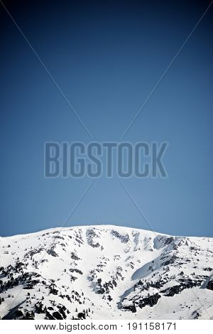 Snowy peak in Canfranc Valley, Aragon, Huesca, Spain.