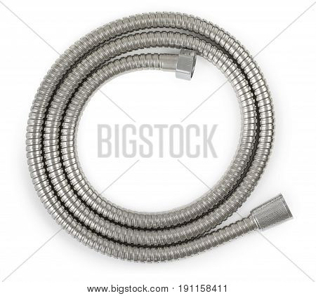 New metallic hose for shower isolated on a white background. Close up. top view.