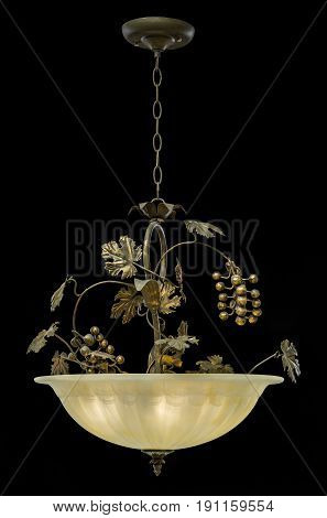 Classic chandelier isolated on black background. chandelier for living room, bedroom, dinning room.