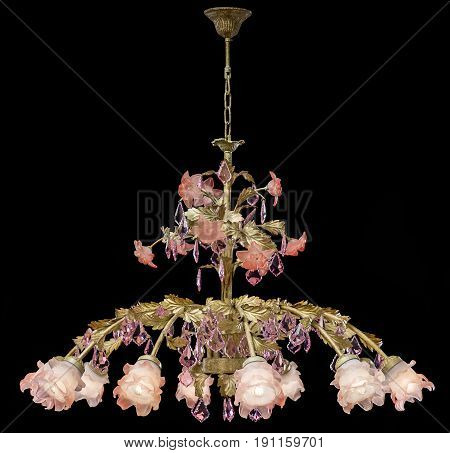 Classic chandelier in flower style isolated on black background. chandelier for living room, bedroom, dinning room.