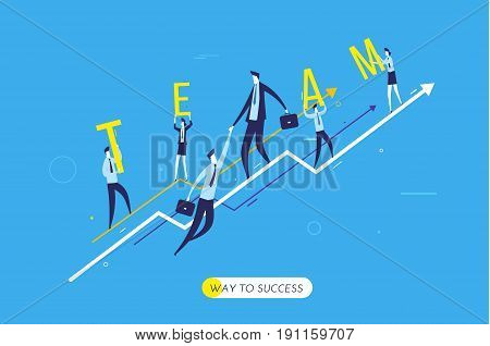 Businessman climbing graph, team help. growth charts. Vector illustration Eps10 file. Success, growth rates