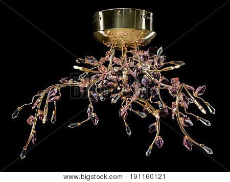 Modern high-tech chandelier with floral crystals isolated on black. Chandelier for interior of the living room