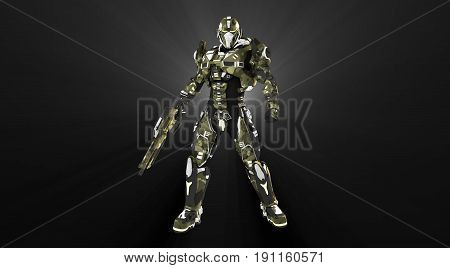 3d render of advanced super soldier with gun