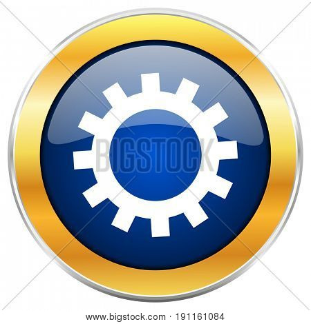 Gear blue web icon with golden chrome metallic border isolated on white background for web and mobile apps designers.