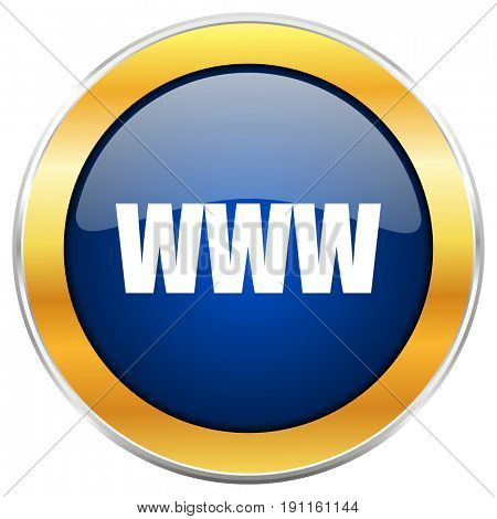 WWW blue web icon with golden chrome metallic border isolated on white background for web and mobile apps designers.