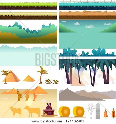 Plat form Game Assets, Set of game elements. Elements for mobile game, 2d game application. Vector Illustration for your project.