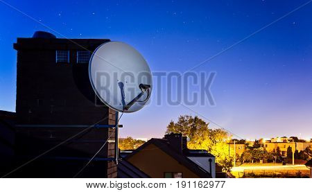 Satellite Dish Antenna Mounted On The Roof Of The House