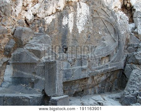 ancient relief of greek trireme in the acropolis of lindos rhodes