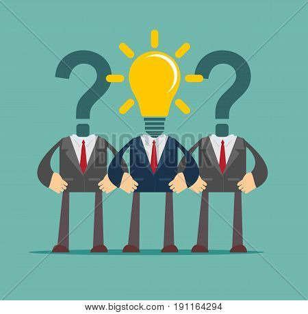 Two question mark headed businessmen behind light bulb headed man . Idea and leadership concept