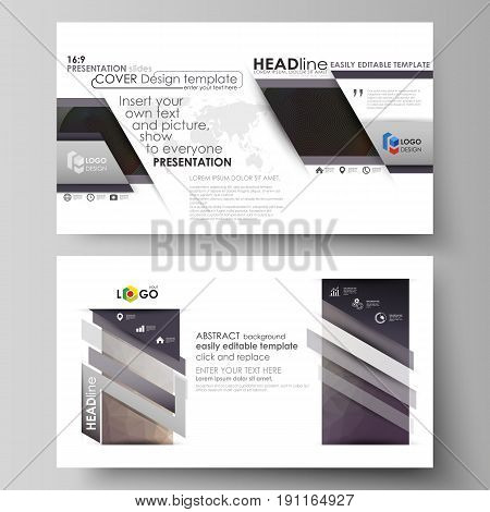 Business templates in HD format for presentation slides. Easy editable abstract vector layouts in flat design. Dark color triangles and colorful circles. Abstract polygonal style modern background.