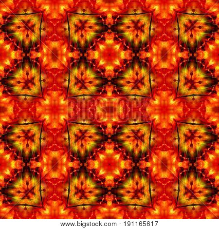 Dynamic seamless infernal pattern with stylized fire flowers. Red black and yellow glowing seamless kaleidoscopic pattern with flames
