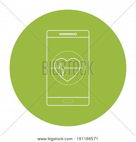 smartphone with cardio app vector illustration design