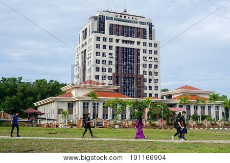 Labuan,Malaysia-May 17,2017:Students walking to campus Labuan International Campus UMSKAL in Labuan,Malaysia.The university has started its operation with the intake of the first students in May 1999